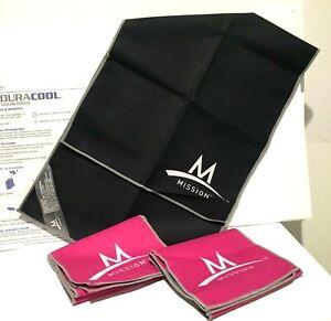 LOT OF 3 MISSION~ENDURACOOL Microfiber Cooling Towels 2 Pink~1 Black