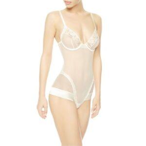 La Perla Idylle 34C S Silk Blend Underwire Bodysuit Teddy Ivory