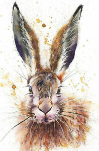 Fine Art Print of WISE HARE watercolour by HELEN APRIL ROSE   552