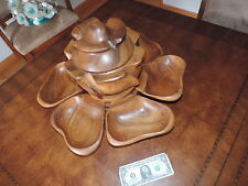 Vintage Teak Wood Danish Modern Lazy Susan Salad Bowl Server Flower Monkey Pod