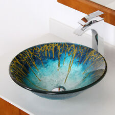 ELITE Modern Design Tempered Glass Bathroom Vessel Sink For Vanity 1309