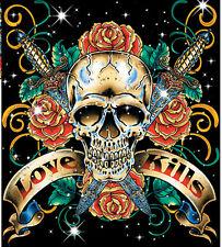Love Kills Skull Dagger Tattoo T-Shirt PLUS SIZE -or- SUPERSIZE T17F Rhinestone