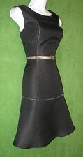 Nine & Co Black Tweed Stitch Detail Belt Fit Flounce Work Dress 10 $79 MISC