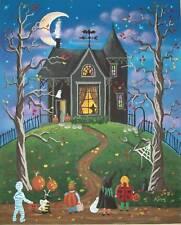 HALLOWEEN NIGHT KIDS CAT DOGS Folk Art PRINT Kim