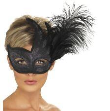 Smiffys Smiffy's Maschera Colombina Veneziana con Piume Nero
