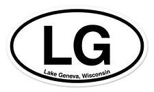 "LG Lake Geneva Wisconsin WI Oval car window bumper sticker decal 5"" x 3"""