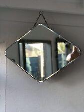 Art Deco 1930s Diamond Vintage Frameless Triangle Overmantle Mirror Antique