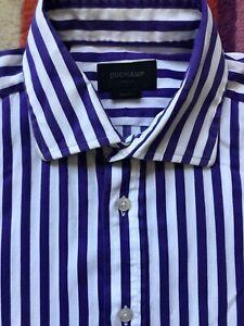 DUCHAMP Slim Fit Shirt. size 16. Purple & White.