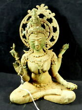 LARGE OLD BRONZE BUDDHA QUAN YIN STATUE. HEALING...> GOOD HEALTH..> LIFE