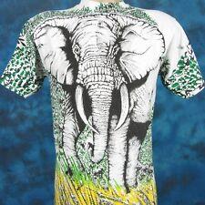 vintage 90s ELEPHANT ALL-OVER PRINT T-Shirt SMALL nature wild animal safari soft