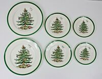 VINTAGE SPODE CHRISTMAS TREE 6 PCS DINNER SALAD AND BREAD PLATES,