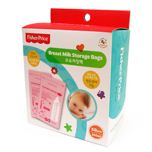 Fisher Price Breast Milk Storage Bags 50 Count 6.76 oz BPA Free Pink FP009