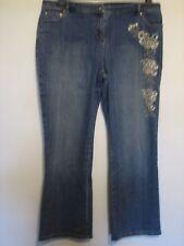 PP37) pour femme ensemble bleu Cropped Jeans Fermeture Éclair Taille 14R Entrejambe 27