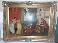 Quadro Scena Dame Barocco dipinto a mano Cornice In Legno Foglia Oro 68x86