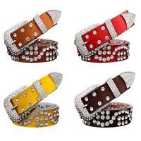 Leather Belts Women Unisex Luxury Rhinestone Pin Buckle Belt Men Cowskin Belts