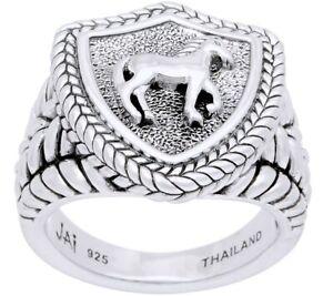 John Hardy JAI Carved Equestrian Signet Sterling Silver Ring Size 8  NIB   🌷