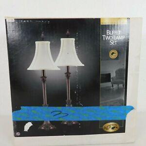 Hampton Bay Buffet Lamp Set French Verdigris Finish Stretched Fabric Shade NIB
