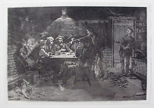 "FREDERIC REMINGTON ""Quarrel Over Cards"" Signed in the Plate Etching POKER TABLE"