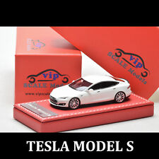 VIP 1:64 Scale TESLA MODEL S White Diecast Car Model Resin Vehicles Collectibles