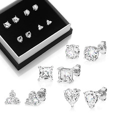 Assorted Shape Stud Earrings With Crystals From Swarovski® in Gift Pouch Round Square Star Three-stone