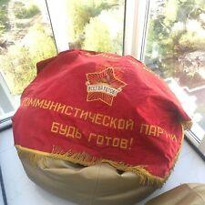 Vintage Embroidery Soviet Flag Pennant USSR 90x115 Banner Communist Propaganda