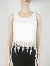 Aqua Crochet Lace Bottom Crop Top White M $68 9780 BM14