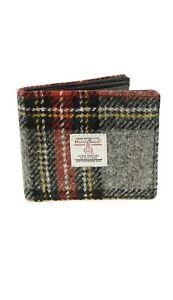 Authentic Harris Tweed Gent's Classic Wallet Grey/Red Tartan LB2007 COL96
