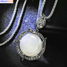 Big White Opal Decorate With Zircon Leaf Pendant Necklaces For Women Jewelry