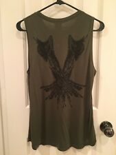 Women's Haute Hippie Tank With Angel Wings Print at the Back In Military Green S
