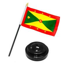 "Grenada 4""x6"" Flag Desk Set Table Stick Black Base"