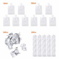 20Pcs Plastic Liquid Bags Folding Beverage Squeeze Pouches W/Screw Cap 50/100ML