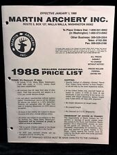 Martin Archery 1988 DEALER CONFIDENTIAL Price List (11 pages)