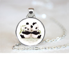 Panda Bear Cubs PENDANT NECKLACE Chain Glass Tibet Silver Jewellery