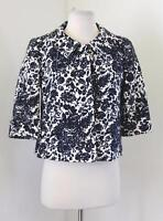 Talbots Navy Blue White Tapestry Floral Snap Button Swing Jacket Size 6P P6