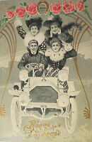 """ New Year,Women,Car,Fashion,Hatmode,Roses "" 1905,Embossed Postcard (25747)"