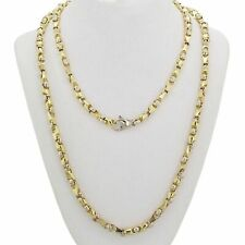 "14k Yellow & White Gold Handmade Fashion Link Necklace 25"" 5mm 55grams"