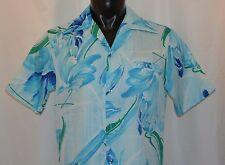 Pomare Blue Floral Casual Hawaiian Shirt Vintage 60's 100% Polyester Size M