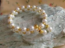 Faux Pearl & Small Gold Tone Beaded Memory Wire Bracelet