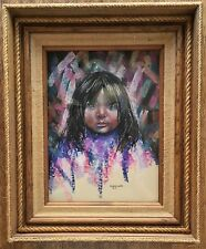 Original Guadalupe Apodaca Pastel Painting Signed Great Wood & Rope Frame 1981