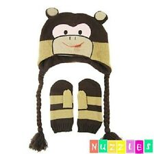 NUZZLES CHEEKY MONKEY BEANIE & MITTENS - 3 - 7 YEARS