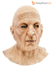 Mens Old Man Mask Lined Wrinkle Neck Latex Full Overhead Fancy Dress Costume