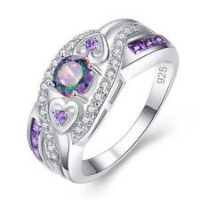 Cut Mystic Topaz Ring Size 10 Gorgeous Wedding Rings Women 925 Silver Round