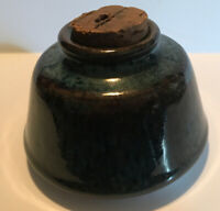 Small Dark Blue Pottery Jar With Cork Stopper