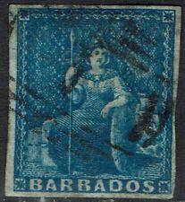 BARBADOS 1855 BRITANNIA (1D) IMPERF USED