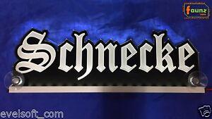 """LED LKW Leuchtschild """"Schnecke"""" Wunschname Altdeutsch Frakturschrift 12 24V weiß"""