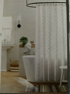 White Swiss Dot Shower Curtain 100% Cotton 72X72 Inches