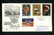 Postal History Ghana Fdc #78-81 Republic Declaration Day 1960