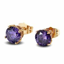 Large 18ct Gold Filled 8mm Simulated Amethyst Stud Earrings Womens UK BE962