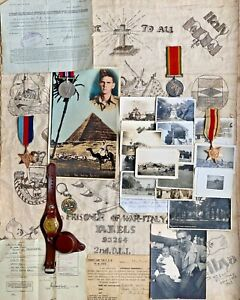 WW2 POW RDLI German Camp Group Medals, Photos, POW Trench Art, POW Transit Card,
