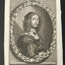 Gravure XVIIIè Portrait Christine Reine de Suède 18thC Sweden Etching